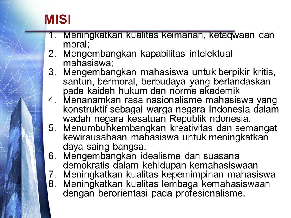 MISI 1.Meningkatkan kualitas keimanan, ketaqwaan dan moral; 2.Mengembangkan kapabilitas intelektual mahasiswa; 3.Mengembangkan mahasiswa untuk berpikir kritis, santun, bermoral, berbudaya yang berlandaskan pada kaidah hukum dan norma akademik 4.Menanamkan rasa nasionalisme mahasiswa yang konstruktif sebagai warga negara Indonesia dalam wadah negara kesatuan Republik ndonesia.