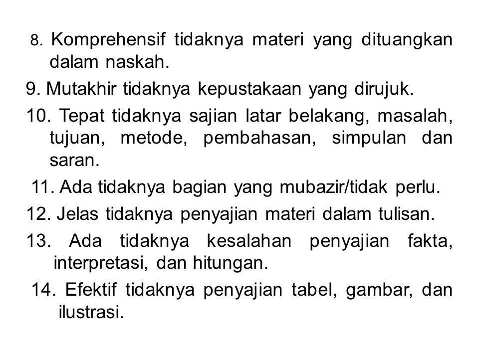 8.Komprehensif tidaknya materi yang dituangkan dalam naskah.
