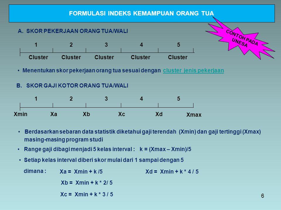 FORMULASI INDEKS KEMAMPUAN ORANG TUA XminXmax 12345 C.