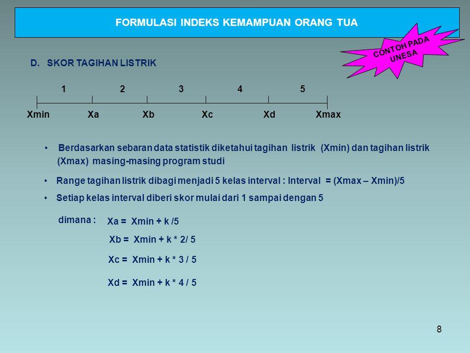 XminXmax 12345 D. SKOR TAGIHAN LISTRIK Setiap kelas interval diberi skor mulai dari 1 sampai dengan 5 Range tagihan listrik dibagi menjadi 5 kelas int