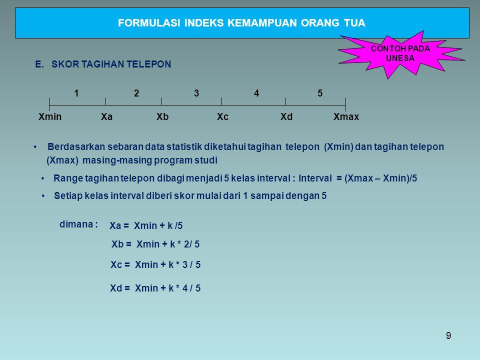 XminXmax 12345 E. SKOR TAGIHAN TELEPON Setiap kelas interval diberi skor mulai dari 1 sampai dengan 5 Range tagihan telepon dibagi menjadi 5 kelas int