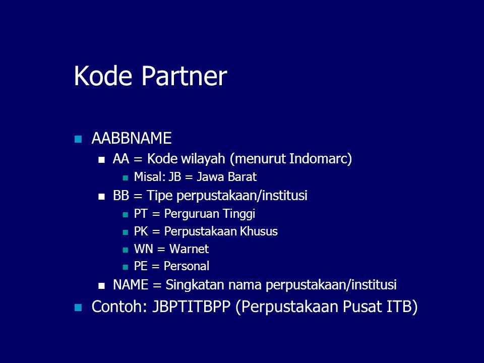 Kode Partner AABBNAME AA = Kode wilayah (menurut Indomarc) Misal: JB = Jawa Barat BB = Tipe perpustakaan/institusi PT = Perguruan Tinggi PK = Perpustakaan Khusus WN = Warnet PE = Personal NAME = Singkatan nama perpustakaan/institusi Contoh: JBPTITBPP (Perpustakaan Pusat ITB)