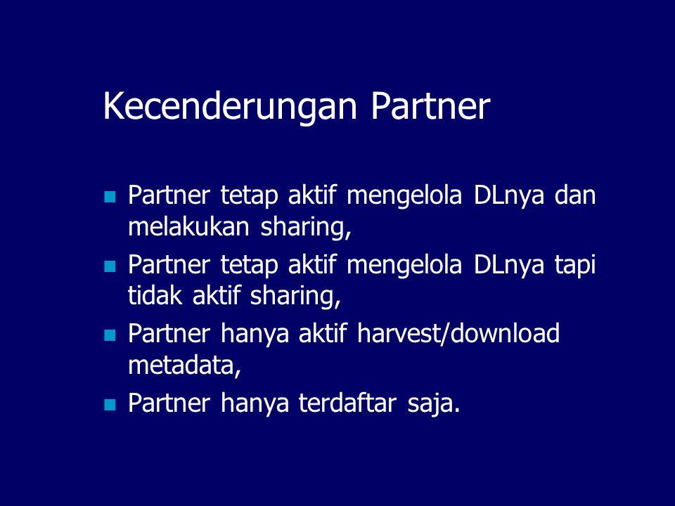 Kecenderungan Partner Partner tetap aktif mengelola DLnya dan melakukan sharing, Partner tetap aktif mengelola DLnya tapi tidak aktif sharing, Partner hanya aktif harvest/download metadata, Partner hanya terdaftar saja.