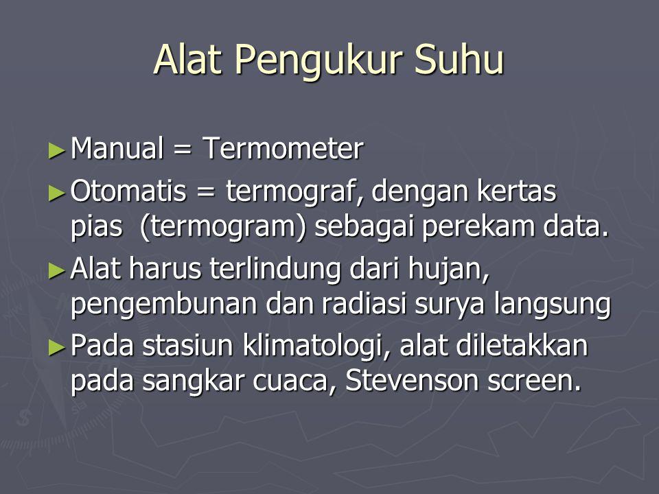 Alat Pengukur Suhu ► Manual = Termometer ► Otomatis = termograf, dengan kertas pias (termogram) sebagai perekam data. ► Alat harus terlindung dari huj