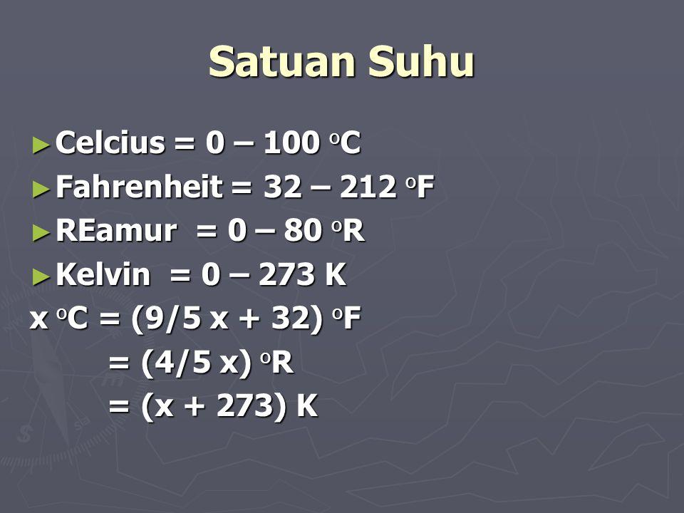 Satuan Suhu ► Celcius = 0 – 100 o C ► Fahrenheit = 32 – 212 o F ► REamur = 0 – 80 o R ► Kelvin = 0 – 273 K x o C = (9/5 x + 32) o F = (4/5 x) o R = (4