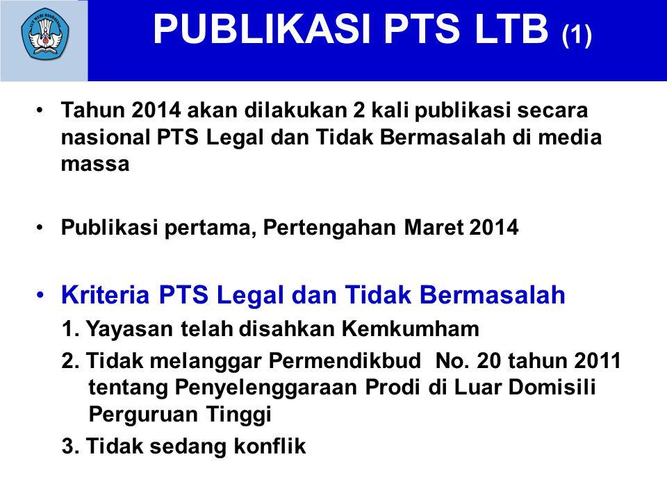PUBLIKASI PTS LTB (1) Tahun 2014 akan dilakukan 2 kali publikasi secara nasional PTS Legal dan Tidak Bermasalah di media massa Publikasi pertama, Pertengahan Maret 2014 Kriteria PTS Legal dan Tidak Bermasalah 1.