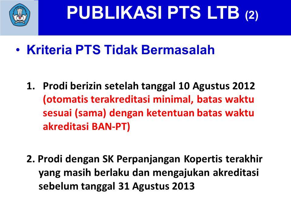 PUBLIKASI PTS LTB (2) Kriteria PTS Tidak Bermasalah 1.Prodi berizin setelah tanggal 10 Agustus 2012 (otomatis terakreditasi minimal, batas waktu sesuai (sama) dengan ketentuan batas waktu akreditasi BAN-PT) 2.