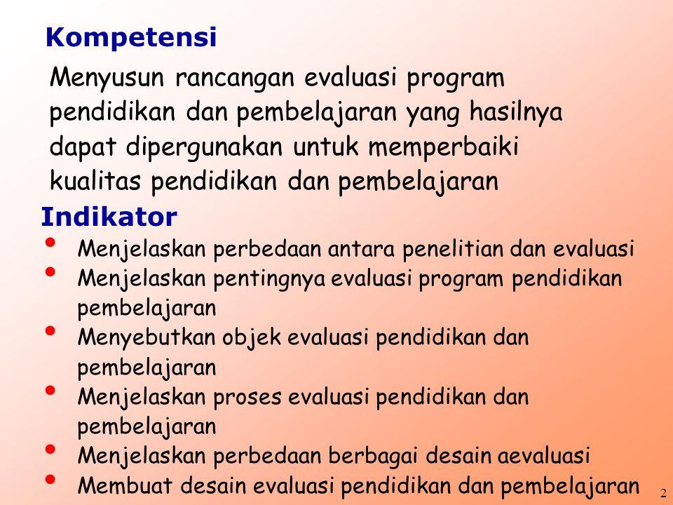 2 Menyusun rancangan evaluasi program pendidikan dan pembelajaran yang hasilnya dapat dipergunakan untuk memperbaiki kualitas pendidikan dan pembelajaran Menjelaskan perbedaan antara penelitian dan evaluasi Menjelaskan pentingnya evaluasi program pendidikan pembelajaran Menyebutkan objek evaluasi pendidikan dan pembelajaran Menjelaskan proses evaluasi pendidikan dan pembelajaran Menjelaskan perbedaan berbagai desain aevaluasi Membuat desain evaluasi pendidikan dan pembelajaran Kompetensi Indikator