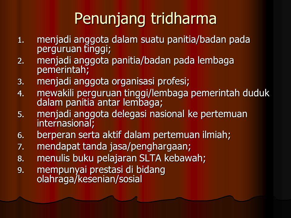 Penunjang tridharma 1. menjadi anggota dalam suatu panitia/badan pada perguruan tinggi; 2. menjadi anggota panitia/badan pada lembaga pemerintah; 3. m