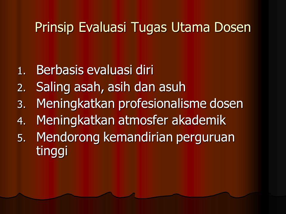 Prinsip Evaluasi Tugas Utama Dosen 1. Berbasis evaluasi diri 2. Saling asah, asih dan asuh 3. Meningkatkan profesionalisme dosen 4. Meningkatkan atmos