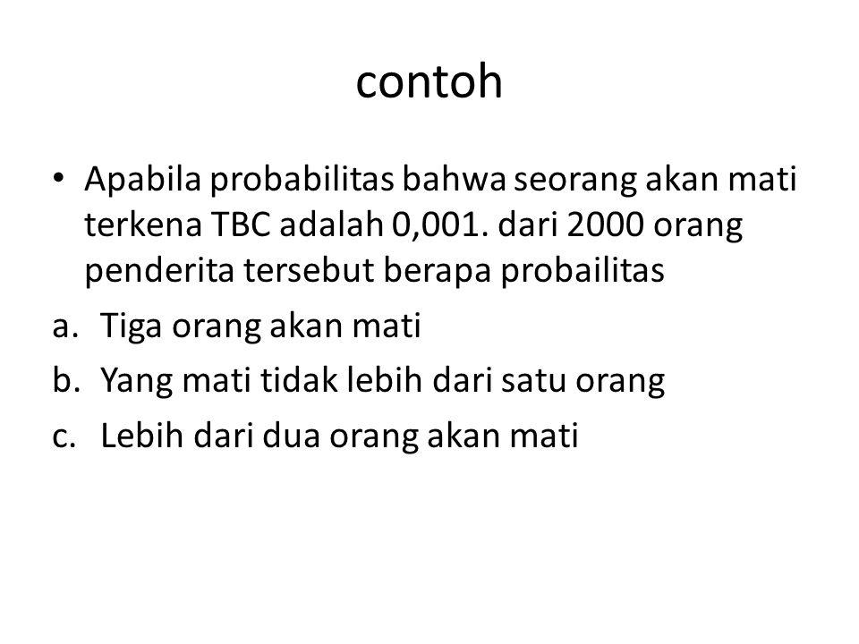 contoh Apabila probabilitas bahwa seorang akan mati terkena TBC adalah 0,001. dari 2000 orang penderita tersebut berapa probailitas a.Tiga orang akan