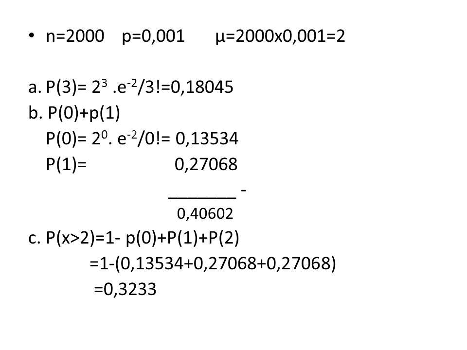 n=2000p=0,001µ=2000x0,001=2 a.P(3)= 2 3.e -2 /3!=0,18045 b. P(0)+p(1) P(0)= 2 0. e -2 /0!= 0,13534 P(1)= 0,27068 _______ - 0,40602 c. P(x>2)=1- p(0)+P