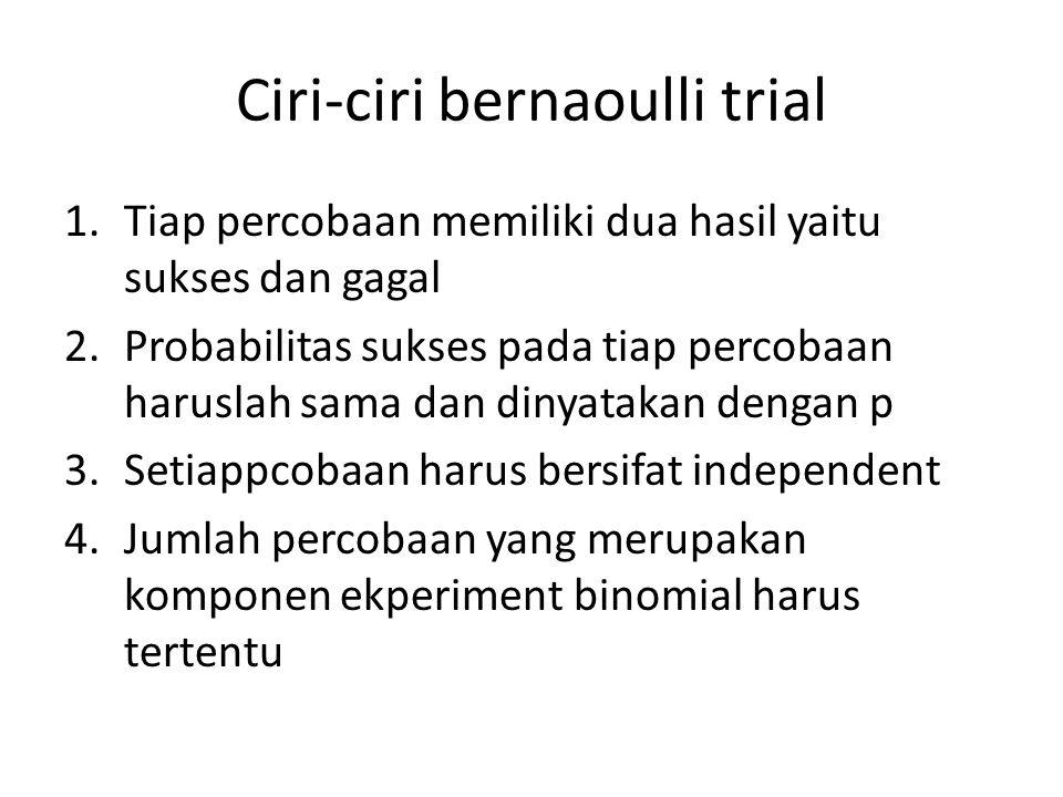 Ciri-ciri bernaoulli trial 1.Tiap percobaan memiliki dua hasil yaitu sukses dan gagal 2.Probabilitas sukses pada tiap percobaan haruslah sama dan diny