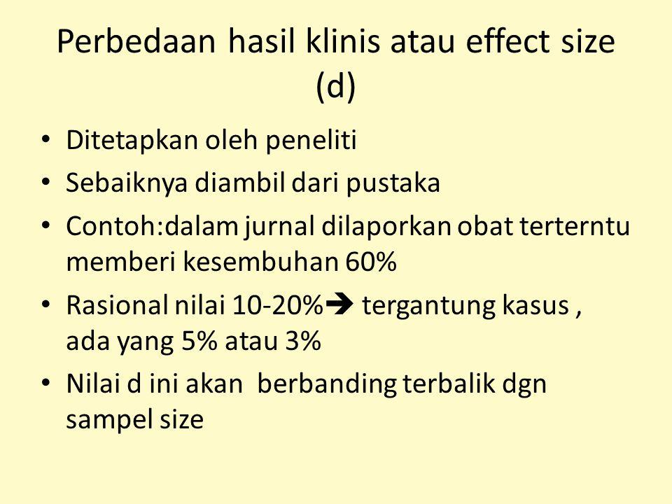 Perbedaan hasil klinis atau effect size (d) Ditetapkan oleh peneliti Sebaiknya diambil dari pustaka Contoh:dalam jurnal dilaporkan obat terterntu memb