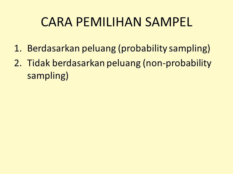 1.Berdasarkan peluang (probability sampling) 2.Tidak berdasarkan peluang (non-probability sampling)