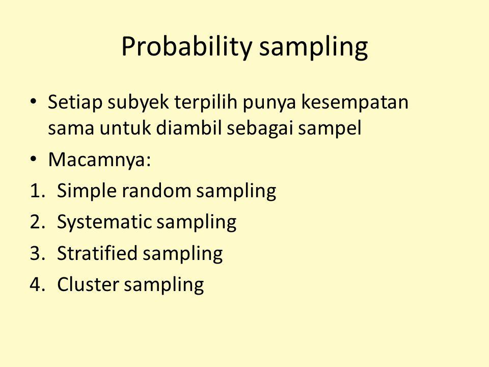 Probability sampling Setiap subyek terpilih punya kesempatan sama untuk diambil sebagai sampel Macamnya: 1.Simple random sampling 2.Systematic samplin