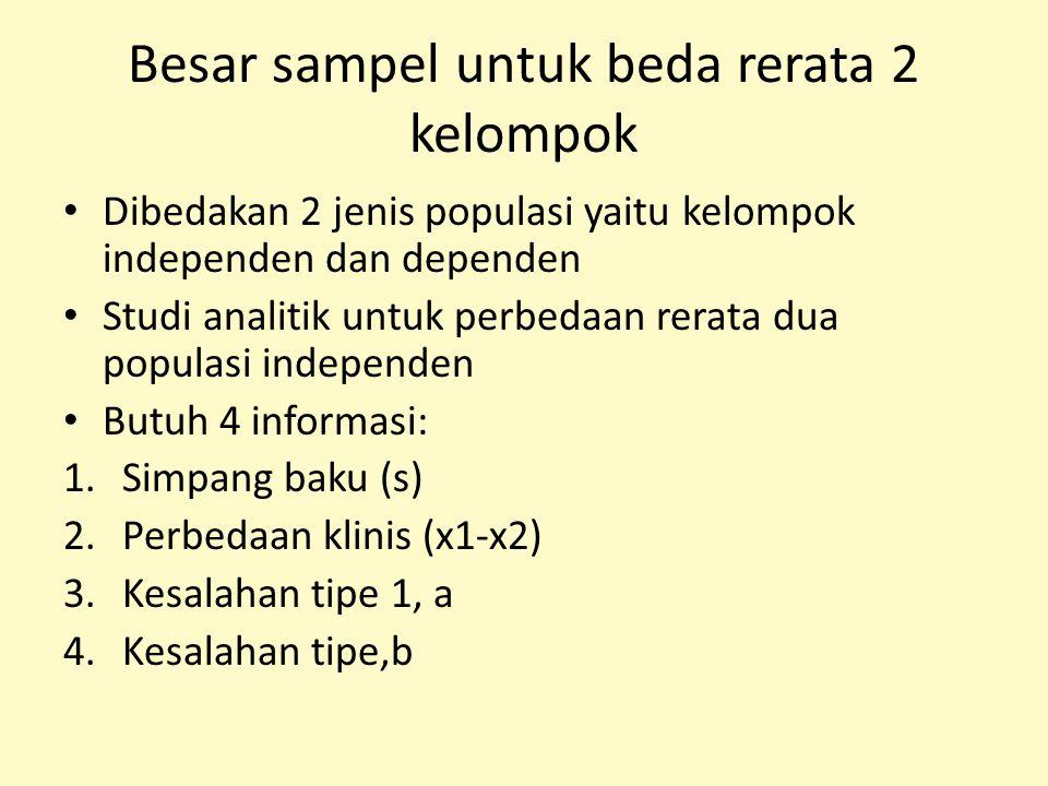 Besar sampel untuk beda rerata 2 kelompok Dibedakan 2 jenis populasi yaitu kelompok independen dan dependen Studi analitik untuk perbedaan rerata dua