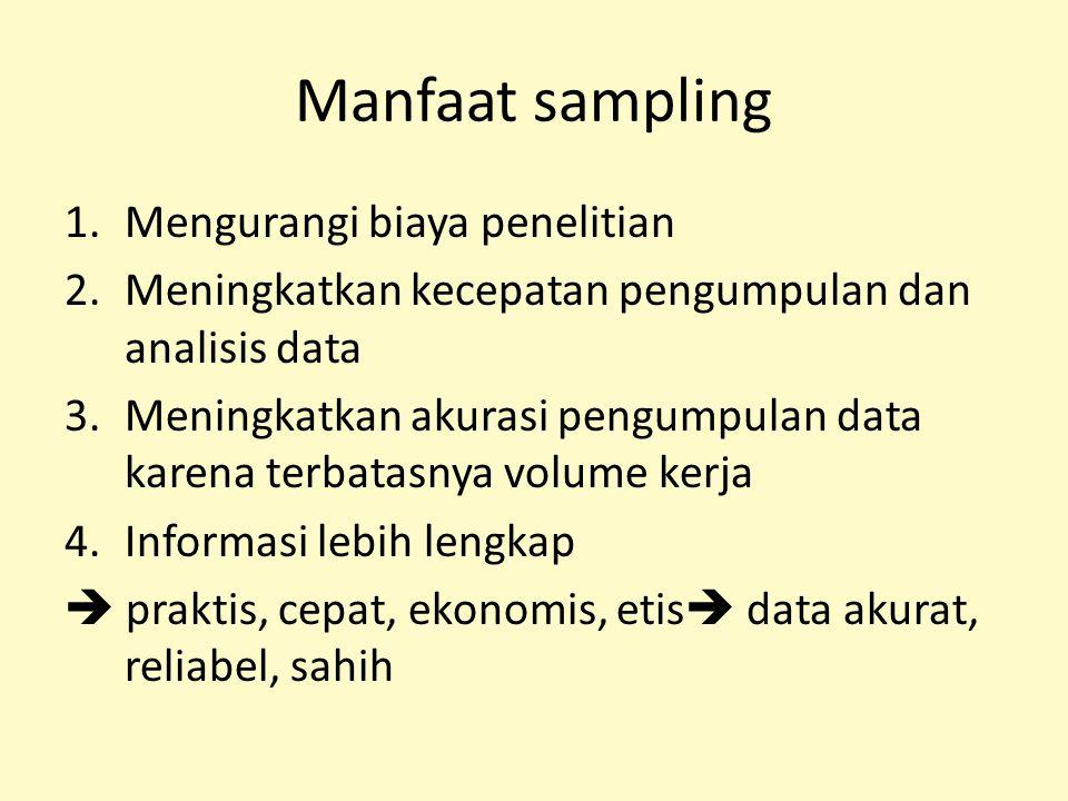 Manfaat sampling 1.Mengurangi biaya penelitian 2.Meningkatkan kecepatan pengumpulan dan analisis data 3.Meningkatkan akurasi pengumpulan data karena t