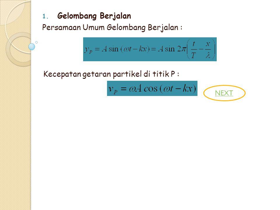1. Gelombang Berjalan Persamaan Umum Gelombang Berjalan : Kecepatan getaran partikel di titik P : NEXT