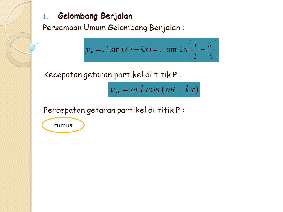 1. Gelombang Berjalan Persamaan Umum Gelombang Berjalan : Kecepatan getaran partikel di titik P : Percepatan getaran partikel di titik P : rumus