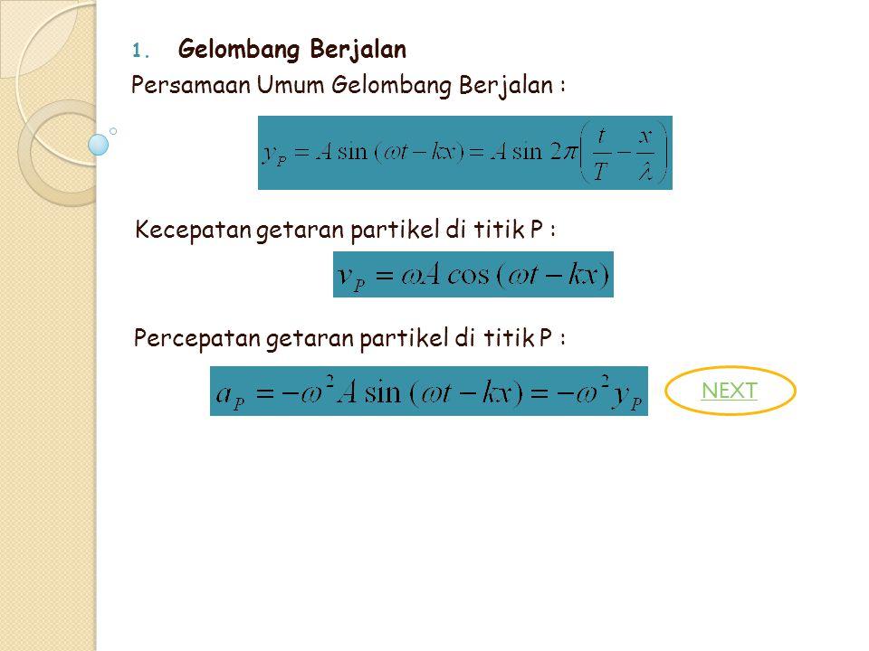 1. Gelombang Berjalan Persamaan Umum Gelombang Berjalan : Kecepatan getaran partikel di titik P : Percepatan getaran partikel di titik P : NEXT