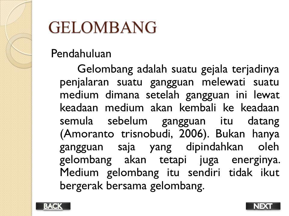 GELOMBANG Pendahuluan Gelombang adalah suatu gejala terjadinya penjalaran suatu gangguan melewati suatu medium dimana setelah gangguan ini lewat keadaan medium akan kembali ke keadaan semula sebelum gangguan itu datang (Amoranto trisnobudi, 2006).