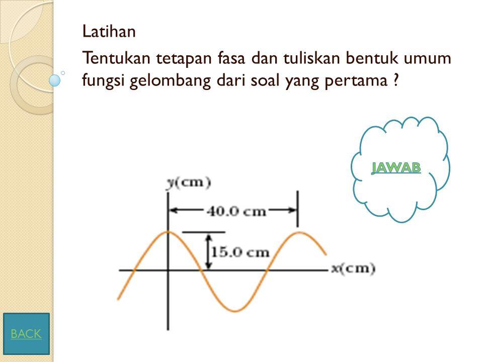 Latihan Tentukan tetapan fasa dan tuliskan bentuk umum fungsi gelombang dari soal yang pertama .