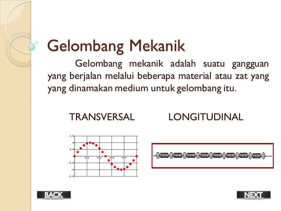 Gelombang Mekanik Gelombang mekanik adalah suatu gangguan yang berjalan melalui beberapa material atau zat yang yang dinamakan medium untuk gelombang itu.