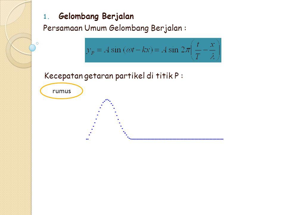 1. Gelombang Berjalan Persamaan Umum Gelombang Berjalan : Kecepatan getaran partikel di titik P : rumus
