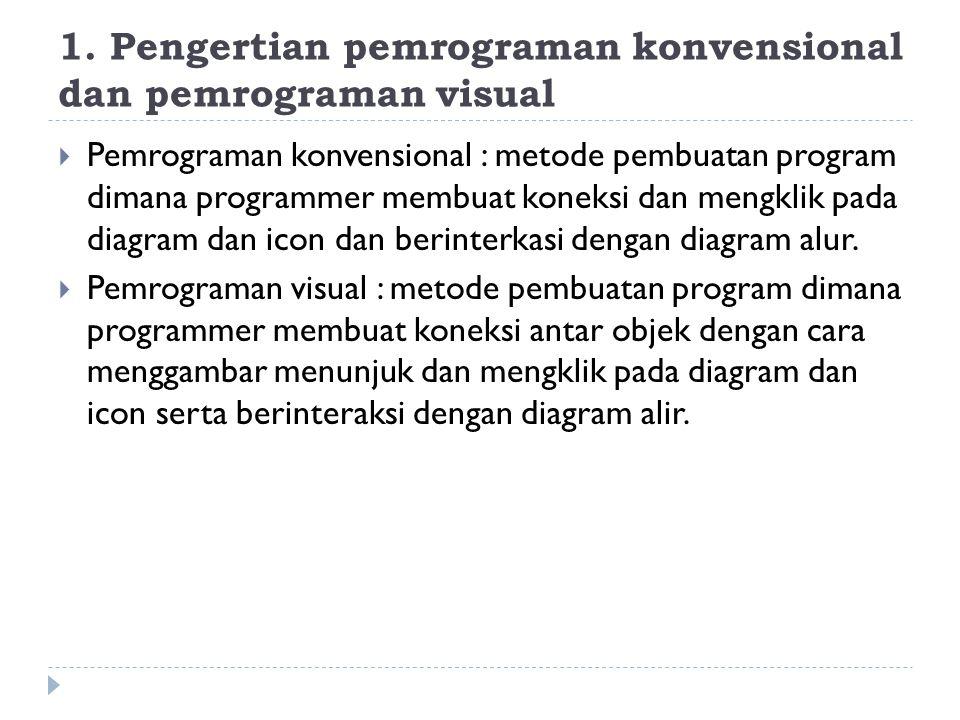 1. Pengertian pemrograman konvensional dan pemrograman visual  Pemrograman konvensional : metode pembuatan program dimana programmer membuat koneksi