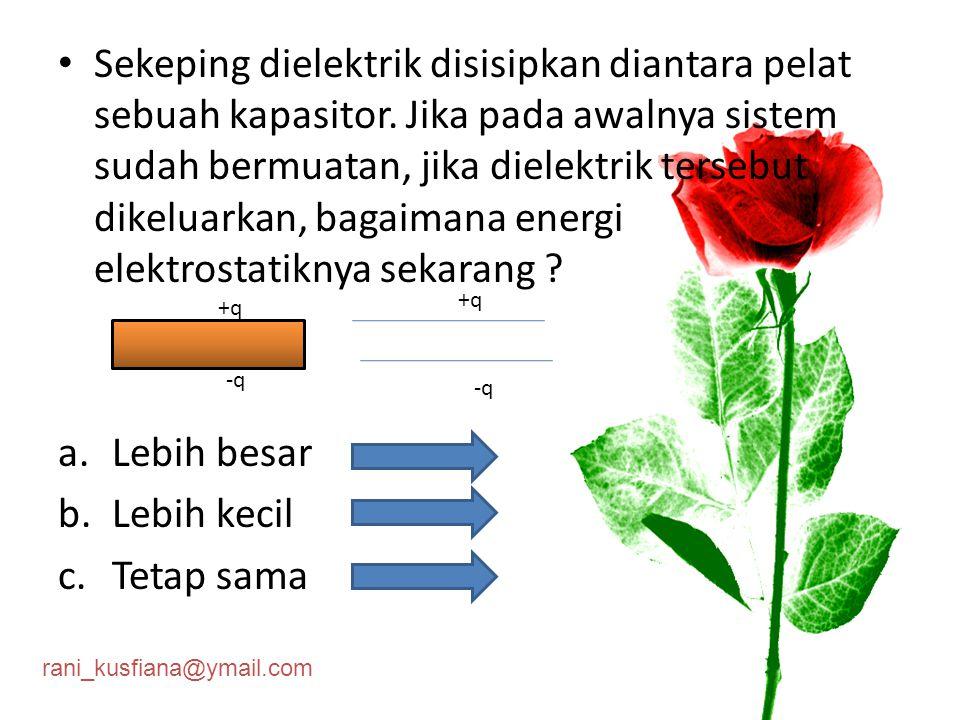 rani_kusfiana@ymail.com Sebuah kapasitor pelat sejajar, dimana tiap pelat bermuatan +q dan –q dan dipisahkan sejauh d.