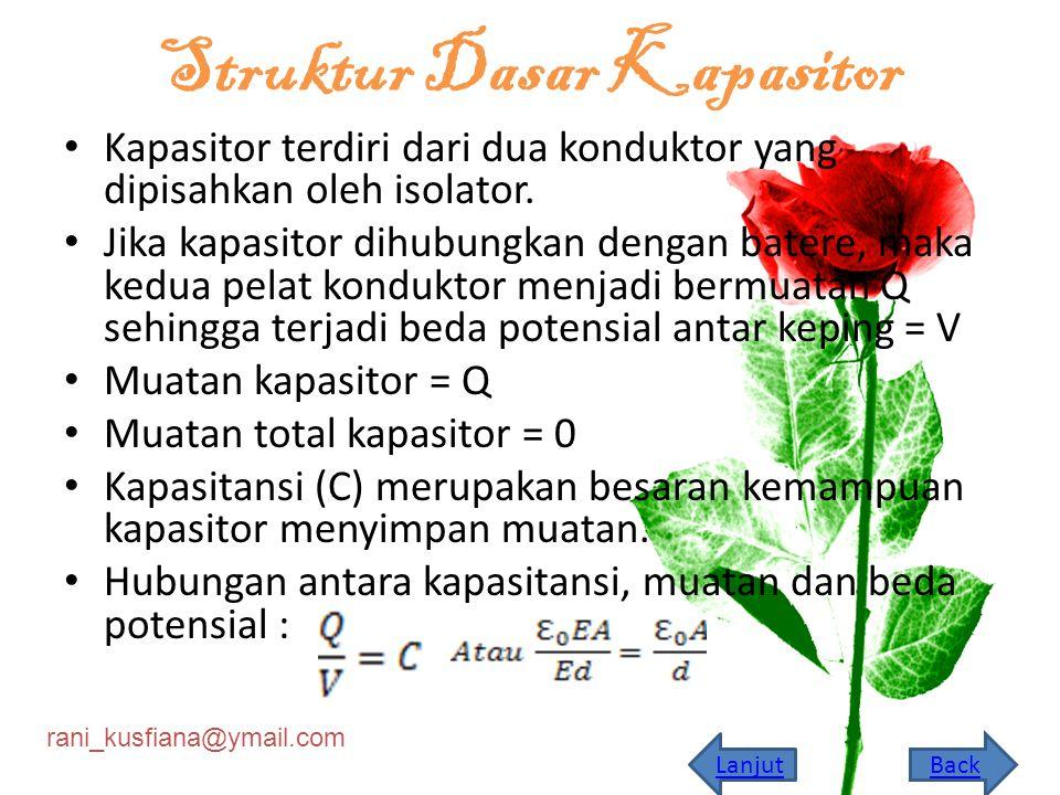 rani_kusfiana@ymail.com Struktur Dasar Kapasitor Kapasitor terdiri dari dua konduktor yang dipisahkan oleh isolator.