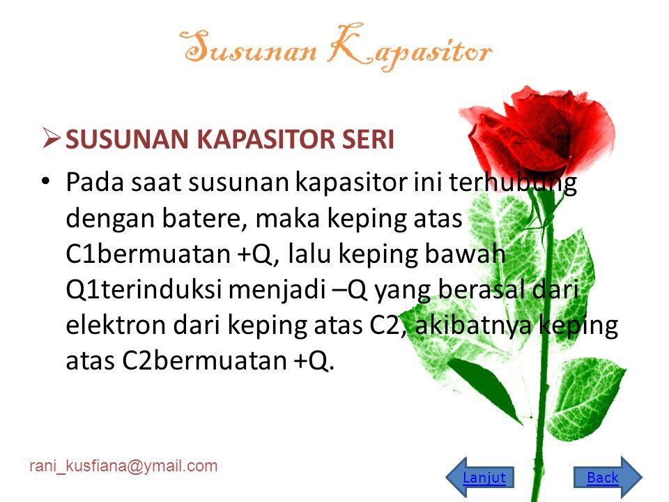 rani_kusfiana@ymail.com Kapasitor pelat sejajar dihubungkan dengan batere yang memberi beda potensial konstan V.