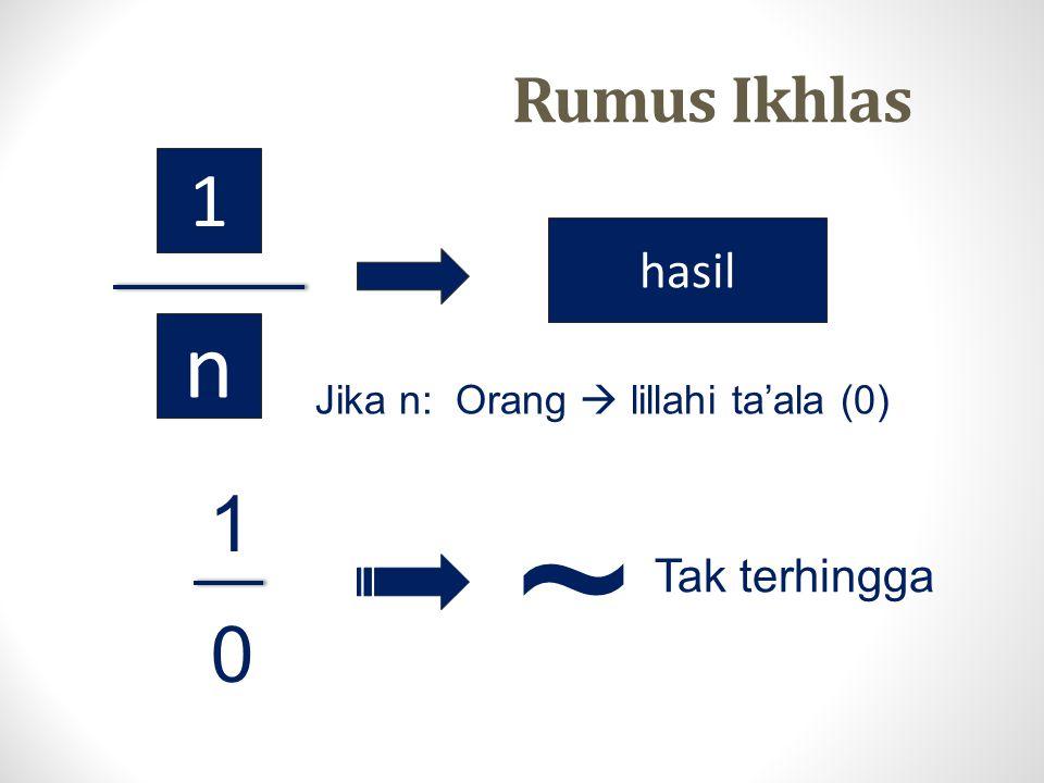 1 n hasil Jika n: Orang  lillahi ta'ala (0) 1 ~ 0 Tak terhingga Rumus Ikhlas