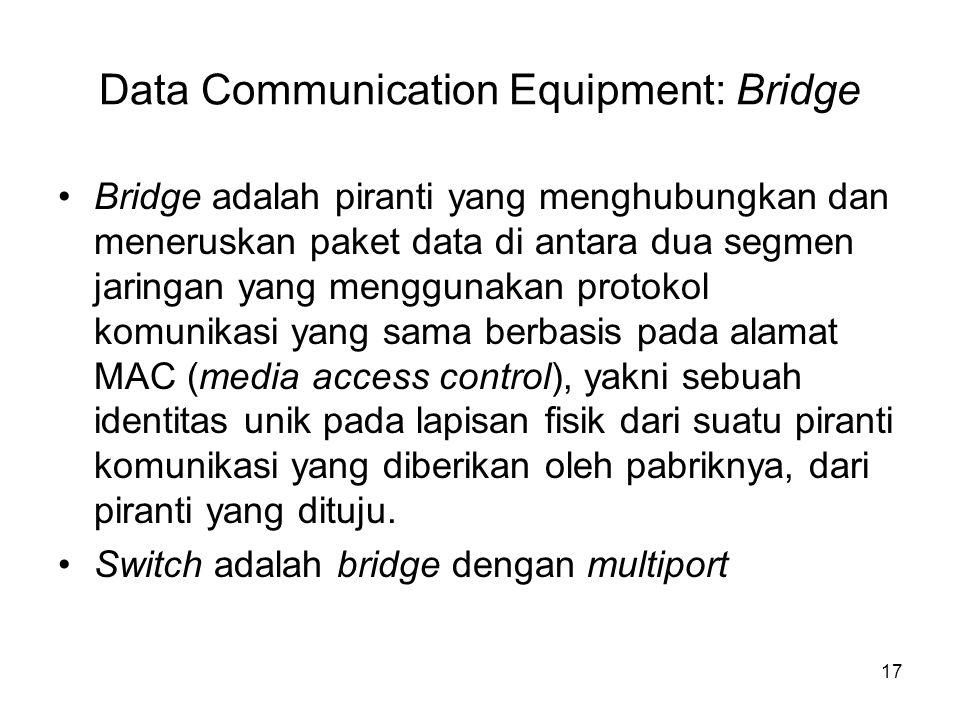Data Communication Equipment: Bridge Bridge adalah piranti yang menghubungkan dan meneruskan paket data di antara dua segmen jaringan yang menggunakan