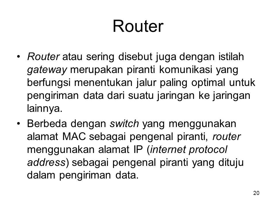 Router Router atau sering disebut juga dengan istilah gateway merupakan piranti komunikasi yang berfungsi menentukan jalur paling optimal untuk pengir