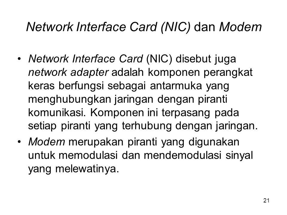 Network Interface Card (NIC) dan Modem Network Interface Card (NIC) disebut juga network adapter adalah komponen perangkat keras berfungsi sebagai ant