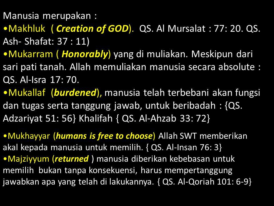 Manusia merupakan : Makhluk ( Creation of GOD). QS. Al Mursalat : 77: 20. QS. Ash- Shafat: 37 : 11) Mukarram ( Honorably) yang di muliakan. Meskipun d
