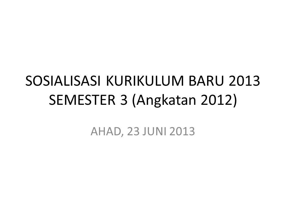 SOSIALISASI KURIKULUM BARU 2013 SEMESTER 3 (Angkatan 2012) AHAD, 23 JUNI 2013