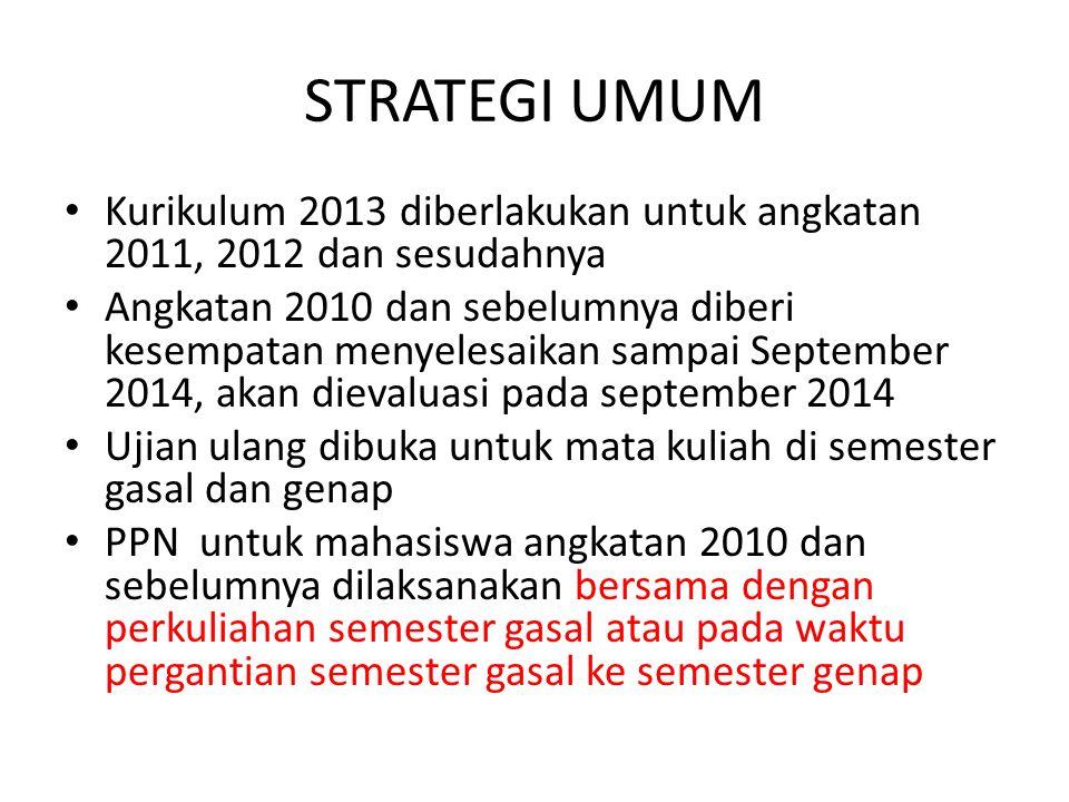 STRATEGI UMUM Kurikulum 2013 diberlakukan untuk angkatan 2011, 2012 dan sesudahnya Angkatan 2010 dan sebelumnya diberi kesempatan menyelesaikan sampai