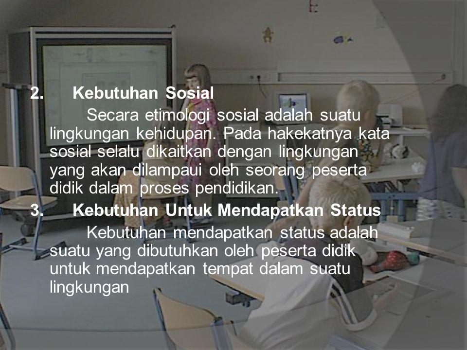 2. Kebutuhan Sosial Secara etimologi sosial adalah suatu lingkungan kehidupan. Pada hakekatnya kata sosial selalu dikaitkan dengan lingkungan yang aka