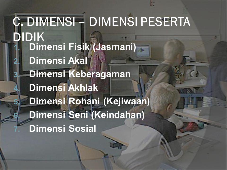 C. DIMENSI – DIMENSI PESERTA DIDIK 1. Dimensi Fisik (Jasmani) 2. Dimensi Akal 3. Dimensi Keberagaman 4. Dimensi Akhlak 5. Dimensi Rohani (Kejiwaan) 6.
