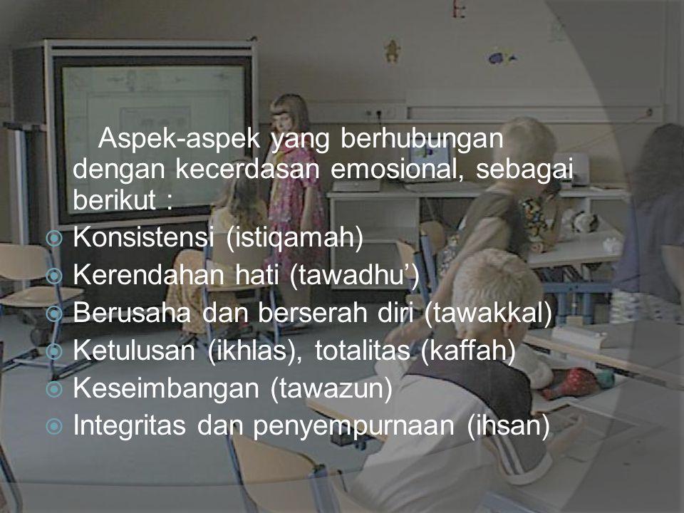 Aspek-aspek yang berhubungan dengan kecerdasan emosional, sebagai berikut :  Konsistensi (istiqamah)  Kerendahan hati (tawadhu')  Berusaha dan bers