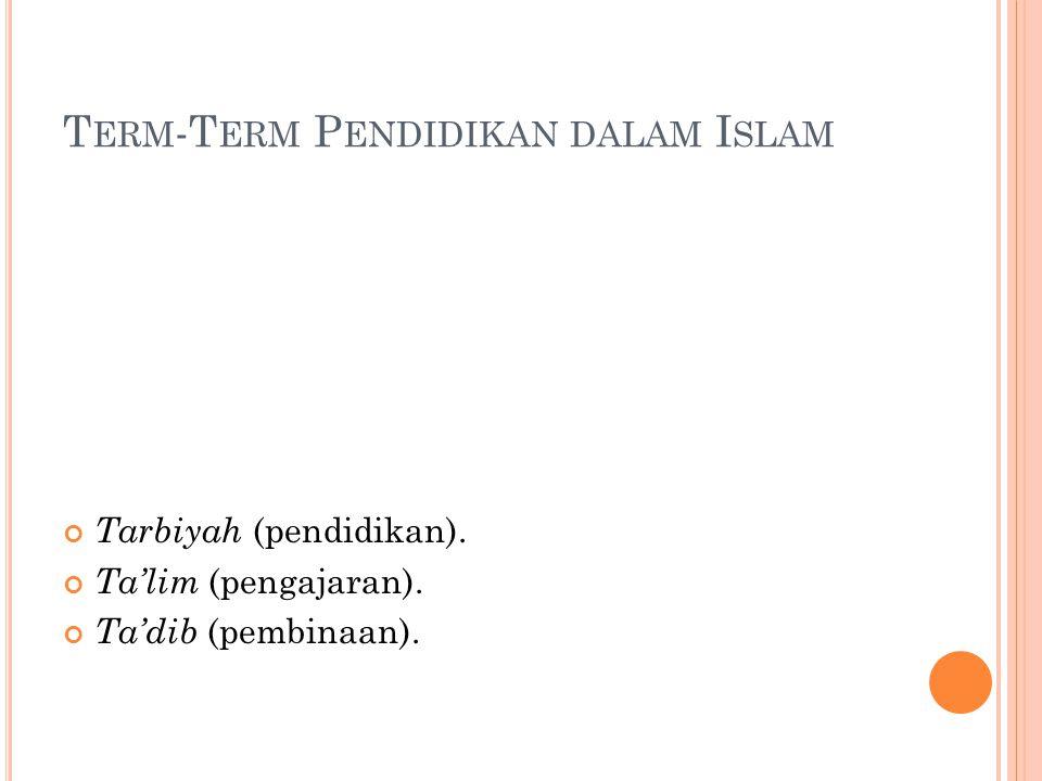 T ERM -T ERM P ENDIDIKAN DALAM I SLAM Tarbiyah (pendidikan). Ta'lim (pengajaran). Ta'dib (pembinaan).