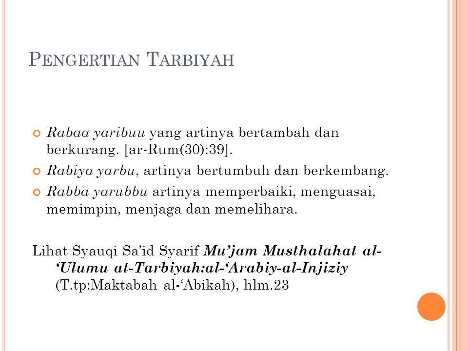 P ENGERTIAN T ARBIYAH Rabaa yaribuu yang artinya bertambah dan berkurang. [ar-Rum(30):39]. Rabiya yarbu, artinya bertumbuh dan berkembang. Rabba yarub