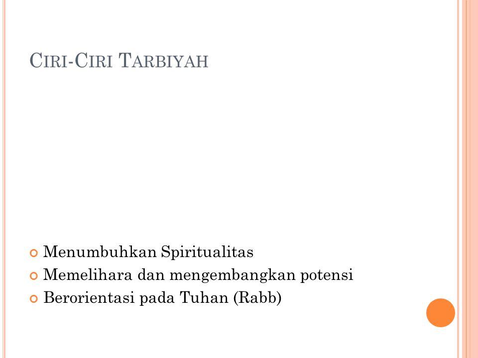 C IRI -C IRI T ARBIYAH Menumbuhkan Spiritualitas Memelihara dan mengembangkan potensi Berorientasi pada Tuhan (Rabb)