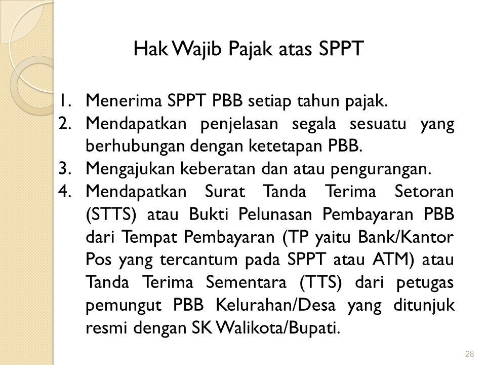 28 Hak Wajib Pajak atas SPPT 1.Menerima SPPT PBB setiap tahun pajak.