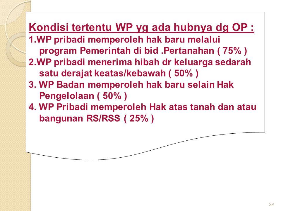 38 Kondisi tertentu WP yg ada hubnya dg OP : 1.WP pribadi memperoleh hak baru melalui program Pemerintah di bid.Pertanahan ( 75% ) 2.WP pribadi menerima hibah dr keluarga sedarah satu derajat keatas/kebawah ( 50% ) 3.