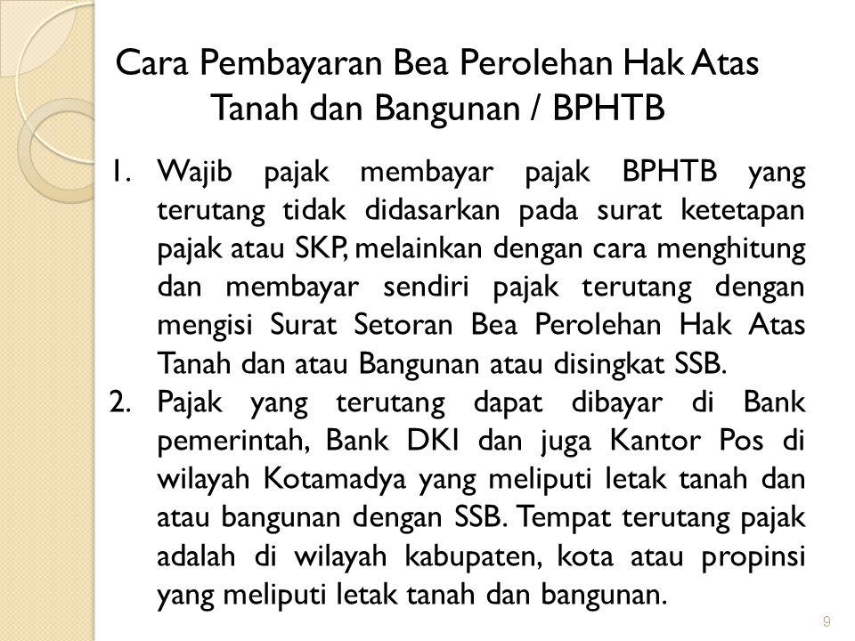 10 Cara Pembayaran Bea Perolehan Hak Atas Tanah dan Bangunan / BPHTB 3.SSB dapat diperoleh di Kantor Pelayanan Pajak Bumi dan Bangunan / KP PBB / KPBB yang adal di wilayah DKI Jakarta, PPAT, Notaris, Kantor Lelang dan Kantor Pertanahan serta Kantor Bank Pemerintah, Bank DKI dan Kantor Pos.