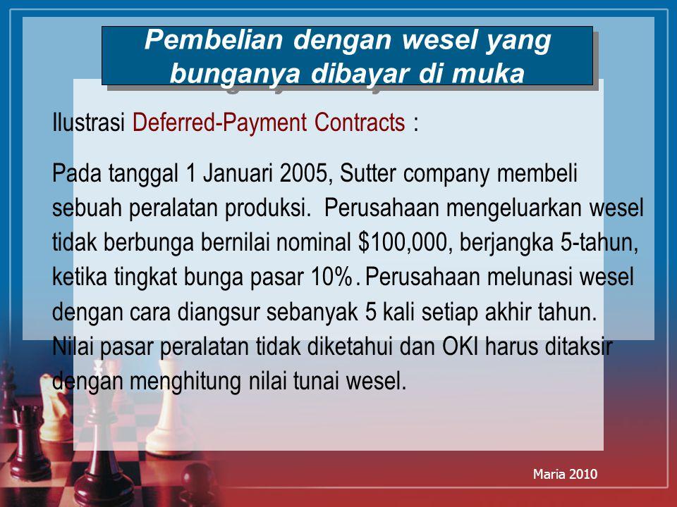Maria 2010 Ilustrasi Deferred-Payment Contracts : Pada tanggal 1 Januari 2005, Sutter company membeli sebuah peralatan produksi. Perusahaan mengeluark